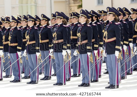 Rome, Italy - May 25, 2016: Men and women of the police in full uniform during the celebrations for the 164th anniversary of the State Police - deployment. - stock photo