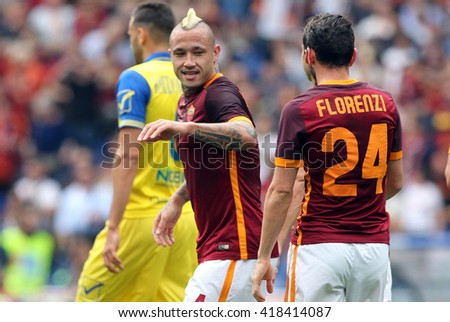 "ROME, ITALY - MAY 2016 :Nainggolan celebrates the gol during fotball match  of Italian League ""Serie A"" between A.s. Roma vs Chievo at the Olimpic Stadium on May 8, 2016 in Rome.  (ph Marco Iacobucci)"