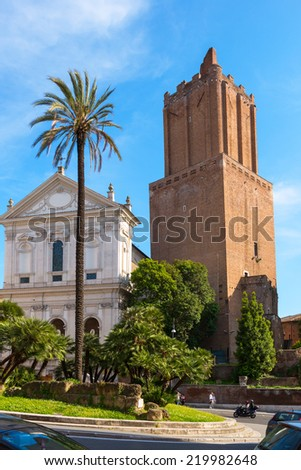ROME, ITALY - MAY 8, 2014: Old Church and the ancient Trajan's Market.