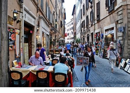 ROME, ITALY - MAY 29: Old street of the ancient Rome city on May 29, 2014, Rome, Italy. - stock photo