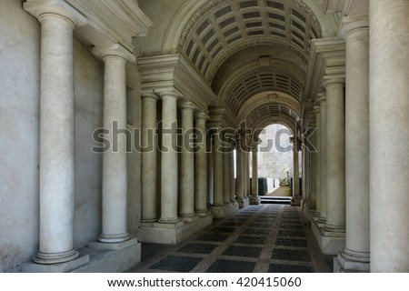 ROME, ITALY - MAY 1, 2016: Palazzo Spada the forced perspective gallery by Francesco Borromini. The baroque corridor is only nine metres long, but looks much longer