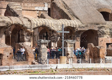 ROME, ITALY - MAY 04, 2014: People in the Colosseum in Rome, Italy