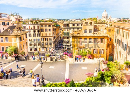 ROME, ITALY - MAY 4, 2015 : People walking in the Spanish steps, in the  Piazza di Spagna. The place has 35 steps and is one of the most visited in Rome.