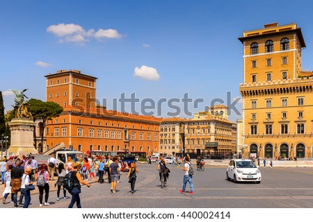 ROME, ITALY - MAY 7, 2016: Piazza Venezia in Historic Center of Rome, Italy. Rome is the capital of Italy and a popular touristic destination