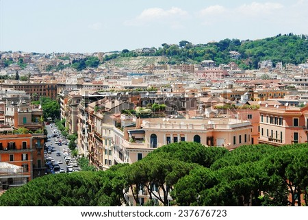 ROME, ITALY - MAY 30: Rome city aerial view from San Angelo castle on May 30, 2014, Rome, Italy.