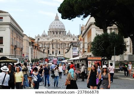 ROME, ITALY - MAY 30: Rome city street life on May 30, 2014, Rome, Italy. - stock photo