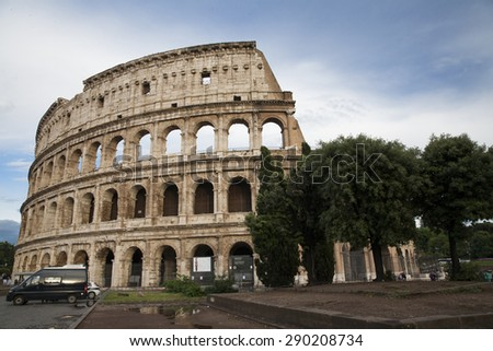 Rome, Italy - May 27, 2015: The Colosseum or Coliseum, also known as the Flavian Amphitheater, is an elliptical amphitheater in the centre of the city of Rome, Italy. - stock photo