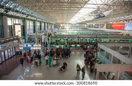 ROME, ITALY - MAY 6, 2014: The hall of registration at the airport of Rome. Fiumicino â?? Leonardo da Vinci International Airport - largest airport of Italy. - stock photo