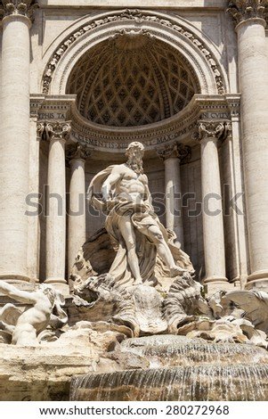 ROME, ITALY - MAY 21, 2014:  the Trevi Fountain. Trevi Fountain is an iconic symbol of Imperial Rome. It is one of Rome's most popular tourist attractions.  - stock photo