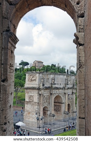 Rome, Italy - May, 15.2016 - The triumphal arch of Constantine seen from the Colosseum