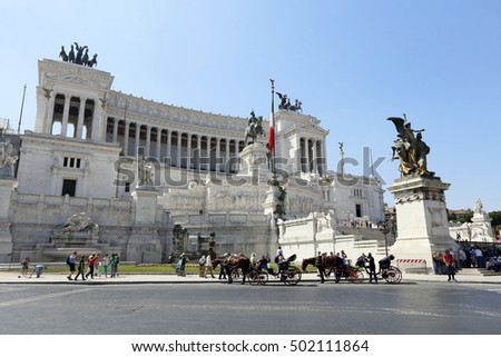 ROME, ITALY - MAY 21, 2014 - The Victor Emmanuel Monument in sunny day. Piazza Venezia