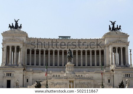 ROME, ITALY - MAY 21, 2014 - The Victor Emmanuel Monument in sunny day. Piazza Venezia, Rome, Italy