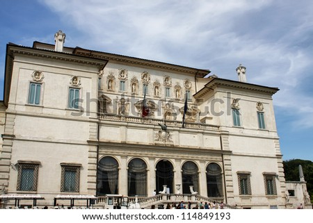 ROME, ITALY - MAY 31: View at Galleria Borghese in Villa Borghese, Rome, Italy at May 31, 2012. The Villa was built by the architect Flaminio Ponzio and includes twenty rooms across two floors.