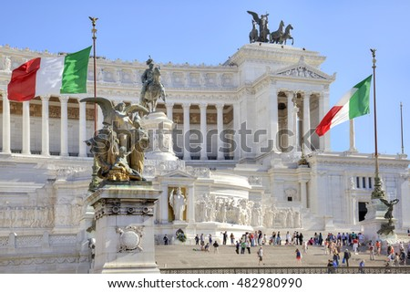 ROME, ITALY - May 03.2012: Vittorio Emanuele II. Monument in honor of the first king of united Italy, Victor Emmanuel II. Located at the Venice Square in Rome