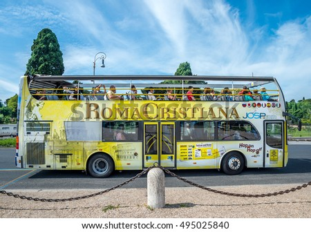 ROME, ITALY - MAY 03, 2015 : Yellow city sightseeing bus in Rome, Italy.
