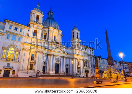 Rome, Italy. Night view of Sant Agnese Church in Piazza Navona, city square built on the site of the Stadium of Domitian. - stock photo