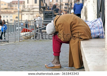 Rome Italy 15 November 2015 : Homeless people, like pictured ones, can be seen almost on every corner of every street in the center of all the big cities