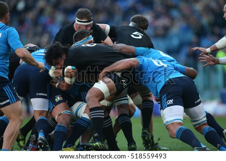 Rome, Italy November 2016: Steven Luatua    in action during the match  in  the  Test match rugby 2016 Italy versus New Zeland in Olimpic Stadium in Rome on 12 november 2016.