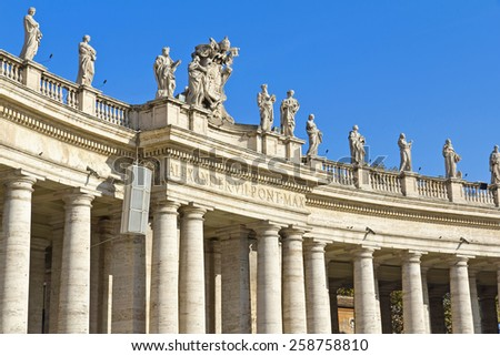 ROME, ITALY, November 26, 2011: The beautiful view of the Bernini's colonnade in Peter's Square, Vatican City. Rome - stock photo