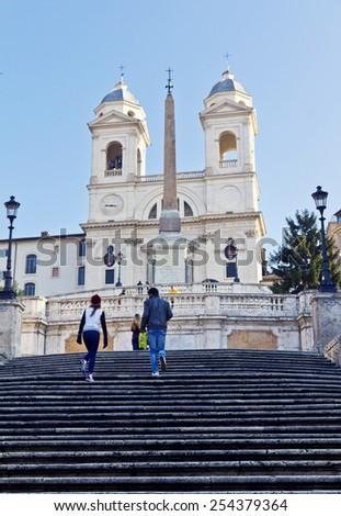 ROME, ITALY, November 25, 2011: The famous Spanish Steps at morning, Rome, Italy - stock photo