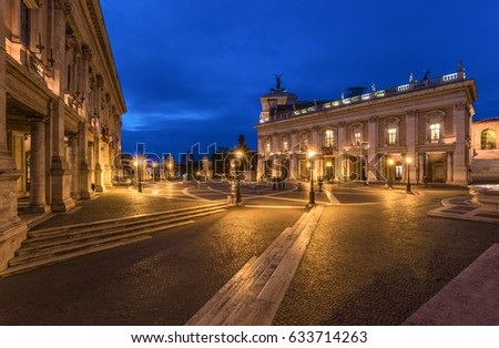 ROME, ITALY - 18 NOVEMBER 2016 - The Hall Town square named Piazza del Campidoglio, in the blue hour