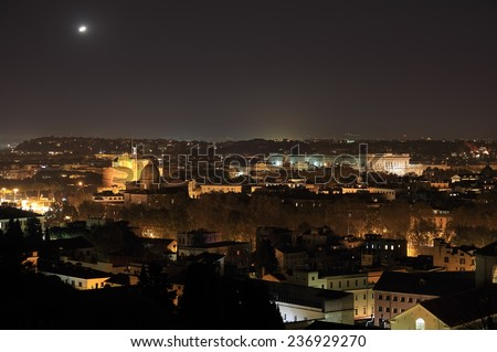 ROME, ITALY - NOVEMBER 19, 2014: unidentified flying object over Holy Angel castle at night - stock photo