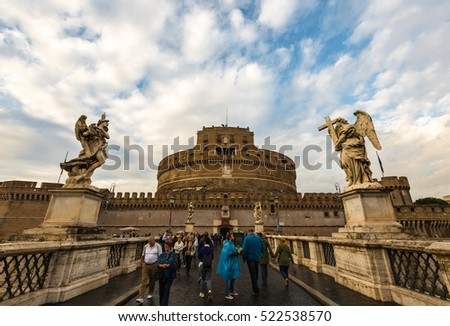 ROME, ITALY - Oct 18, 2016: Crownd Pepole over Angels Bridge in Rome to Castel Sant Angelo