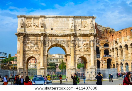 ROME, ITALY- OCTOBER 21, 2015: Arch of Constantine and Colosseum in Rome, Italy. The ruins of Roman forum.  - stock photo