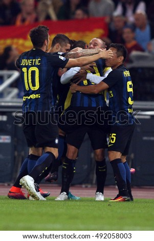 Rome, Italy 2 october, 2016: Banega celebrate the gol  during the match Serie A league  between Roma  vs Inter in Olimpic stadium in Rome on October 2016.