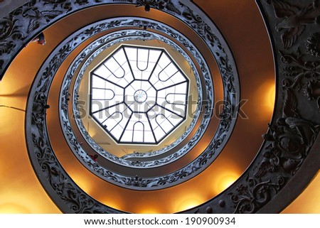 ROME, ITALY - OCTOBER 26: Double Helix Staircase in Vatican on OCTOBER 26, 2009. The Bramante Staircase with skylight window in Vatican.