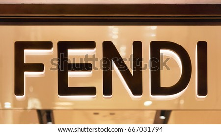 Rome, Italy - October 14, 2016: Fendi Sign on street shop window of Rome, Italy.