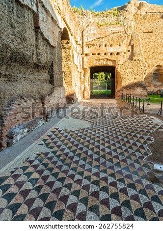 ROME, ITALY   OCTOBER 5, 2012: Floor In The Baths Of Caracalla.