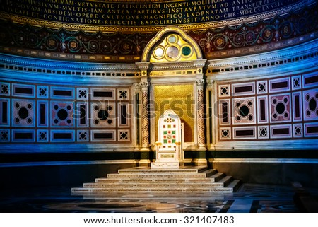 ROME, ITALY - OCTOBER 30: Interior and papal cathedra in Archbasilica of St. John Lateran in Rome, Italy on October 30, 2014.