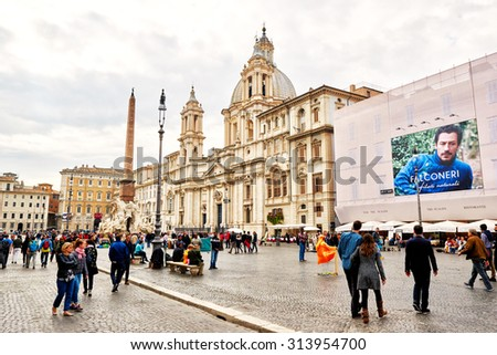 ROME, ITALY - OCTOBER 29: Manys tourists visit Piazza Navona in Rome, Italy on October 29, 2014 - stock photo
