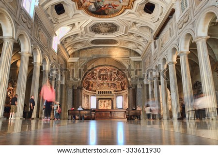 ROME, ITALY - OCTOBER 8, 2015: people visiting the ancient church of Saint Peter in Vincoli - stock photo