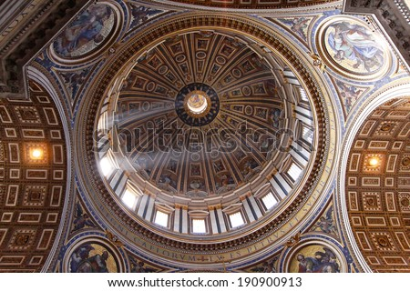 ROME, ITALY - OCTOBER 26: St Peter Dome in Vatican on OCTOBER 26, 2009. Dome in Saint Peters Cathedral in Vatican.