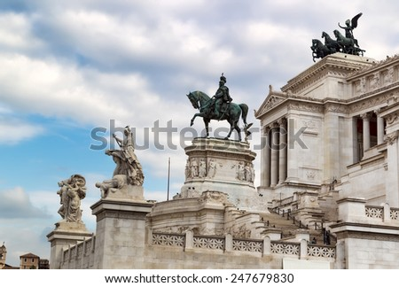 ROME, ITALY - OCTOBER 29, 2014: Statues in a monument to Victor Emmanuel II. Piazza Venezia, Rome , Italy - stock photo