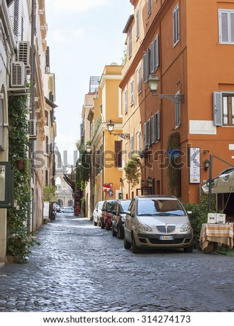 ROME, ITALY, on AUGUST 25, 2015. the picturesque street lit with a bright sun
