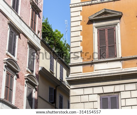 ROME, ITALY, on AUGUST 25, 2015. Typical architectural details of historical city building.