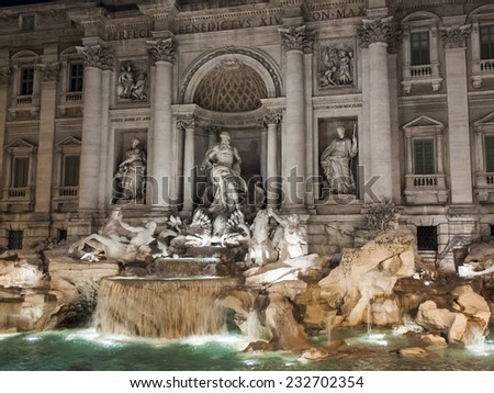 Rome, Italy, on February 25, 2010. Well-known fountain of Trevi. Fonyan Trevi - one of the most known sights of Rome