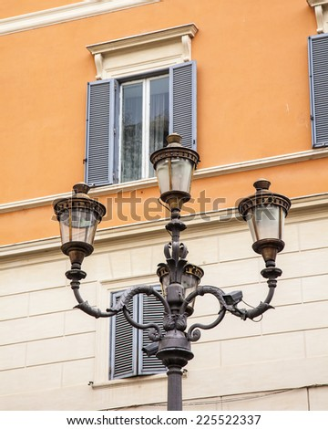 Rome, Italy, on October 10, 2013. Ancient streetlight