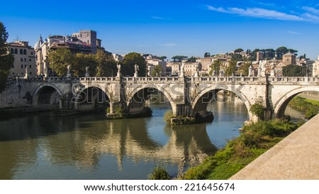Rome, Italy, on October 10, 2012. River Tiber, Sacred Angel bridge