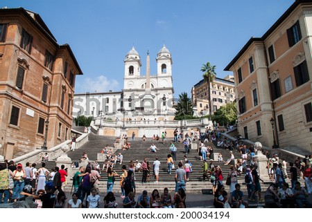 """Rome, Italy on September 10, 2012. Tourists were at the """"Spanish Steps"""" in Rome, Italy - stock photo"""