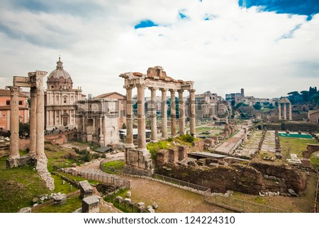 Rome, Italy. One of the most famous landmarks in the world - Roman Forum. - stock photo