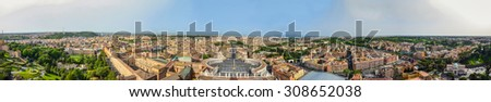 Rome, Italy. Panorama view of the famous Saint Peter's Square in Vatican and aerial view of the city - stock photo