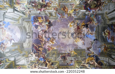 ROME, ITALY - SEPTEMBER 22, 2014: Amazing fresco by Andrea Pozzo at the Church of St. Ignatius of Loyola at Campus Martius in Rome. - stock photo