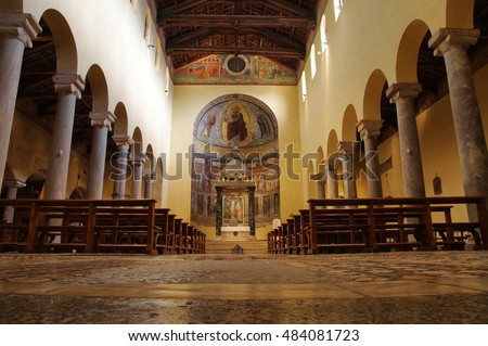 ROME, ITALY - SEPTEMBER 9, 2016: central nave of the ancient Roman church San Saba built  on VII century close to the ancient Aurelian Walls next to the Aventine Hill and Caelian Hill