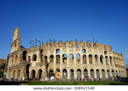 Rome, Italy - September 12, 2013: Colosseum Panoramic View - stock photo