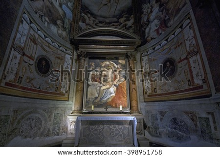 ROME, ITALY - SEPTEMBER 28 2009: Deposition (1550) by Francesco Salviati from Santa Maria dell'Anima (Our Lady of the Soul), a Roman Catholic church in central Rome.