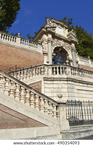 Rome, Italy - September 12, 2016 : Detail of an ornate staircase in the centre of Rome